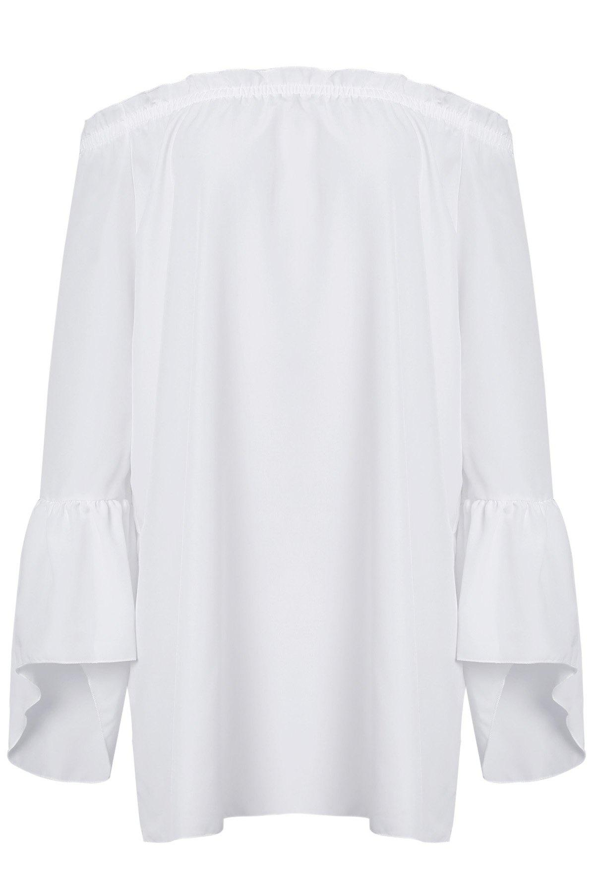 Sexy Off The Shoulder Solid Color Flared Sleeve Dress For Women - WHITE XL