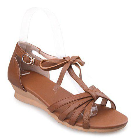 Simple PU Leather and T-Strap Design Women's Sandals - BROWN 36