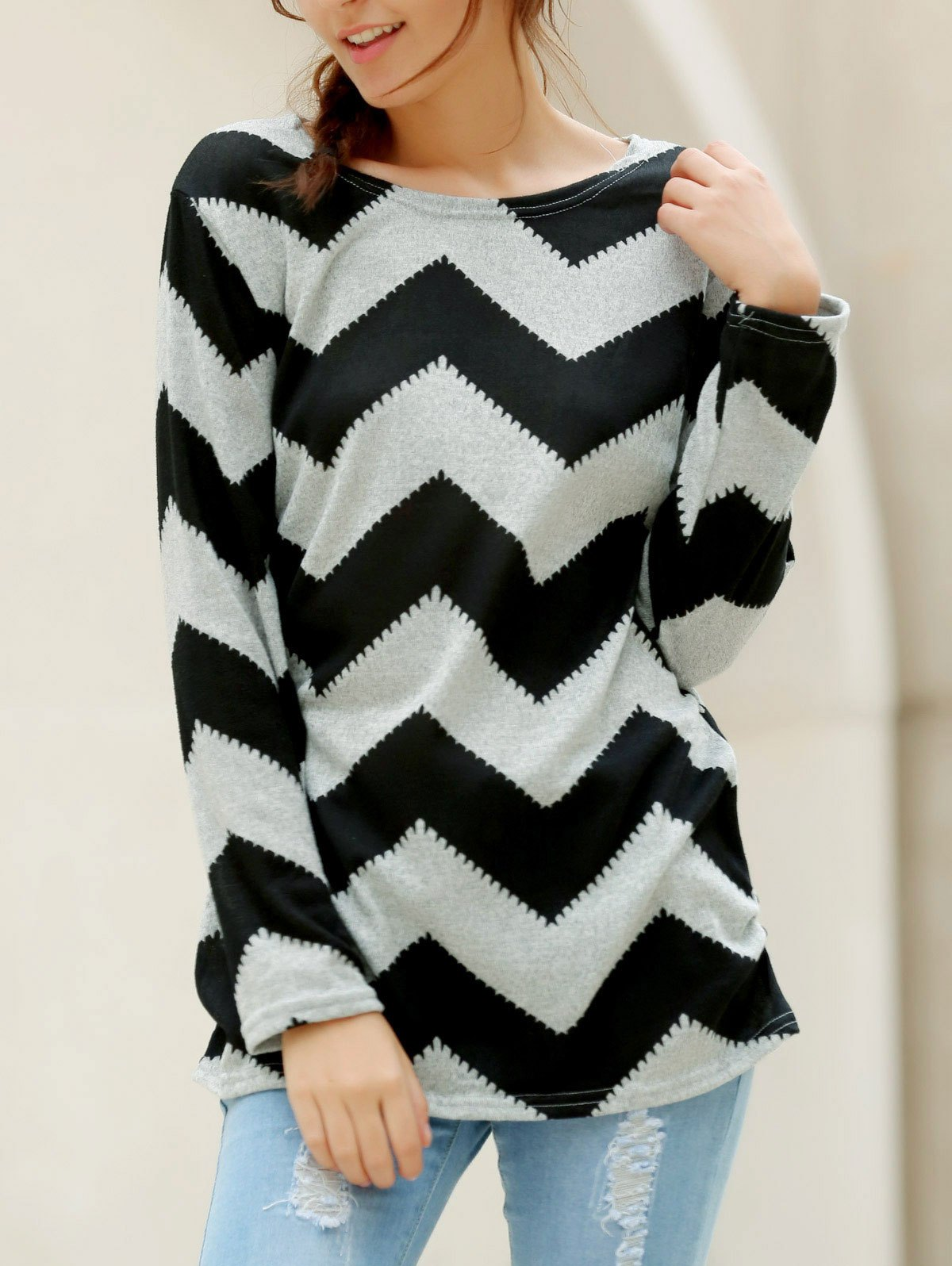 Wavy Line Print Long Sleeve Round Neck Color Block Plus Size T-Shirt - GARY/BLACK L