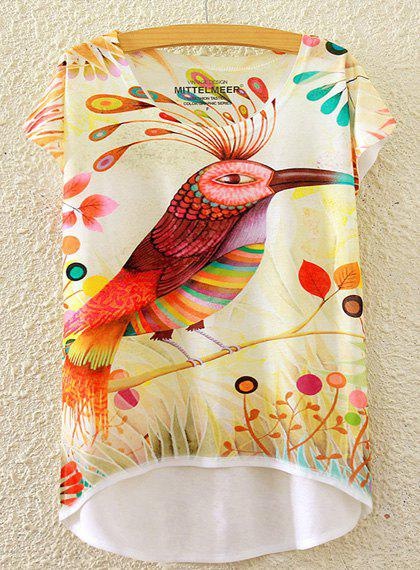 Cute Women's Scoop Neck Cuckoo Print High Low Short Sleeve T-Shirt - WHITE ONE SIZE(FIT SIZE XS TO M)