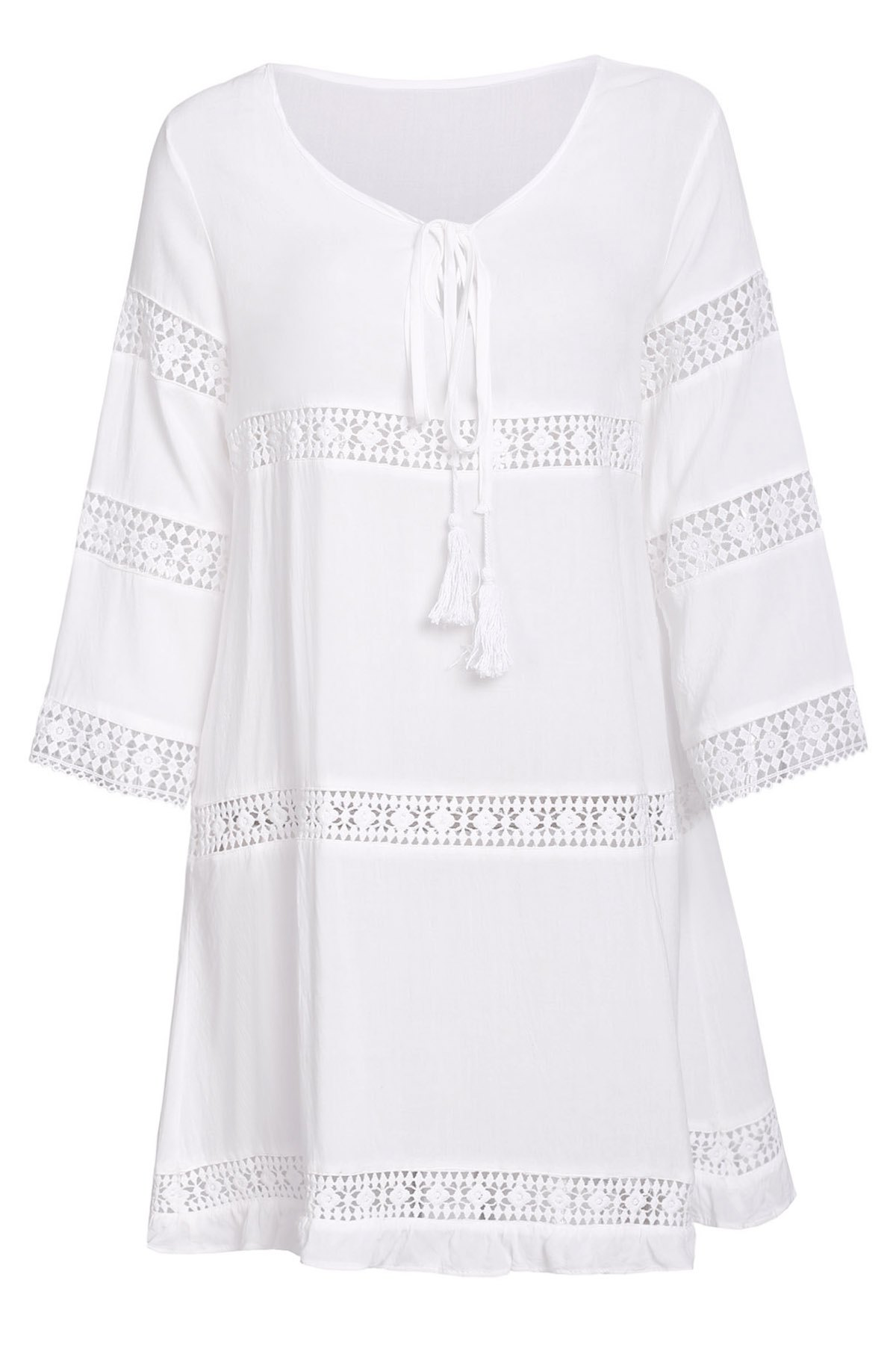 Simple 3/4 Sleeve Scoop Collar Pure Color Women's Dress - WHITE L