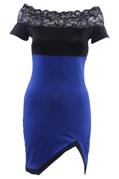 Chic Slash Neck Lace Spliced Furcal Dress For Women - BLUE M
