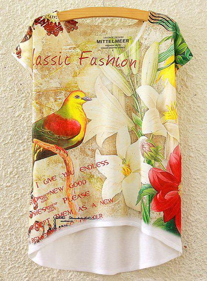 Chic Women's Scoop Neck Lily and Bird Print High Low Short Sleeve T-Shirt - WHITE ONE SIZE(FIT SIZE XS TO M)