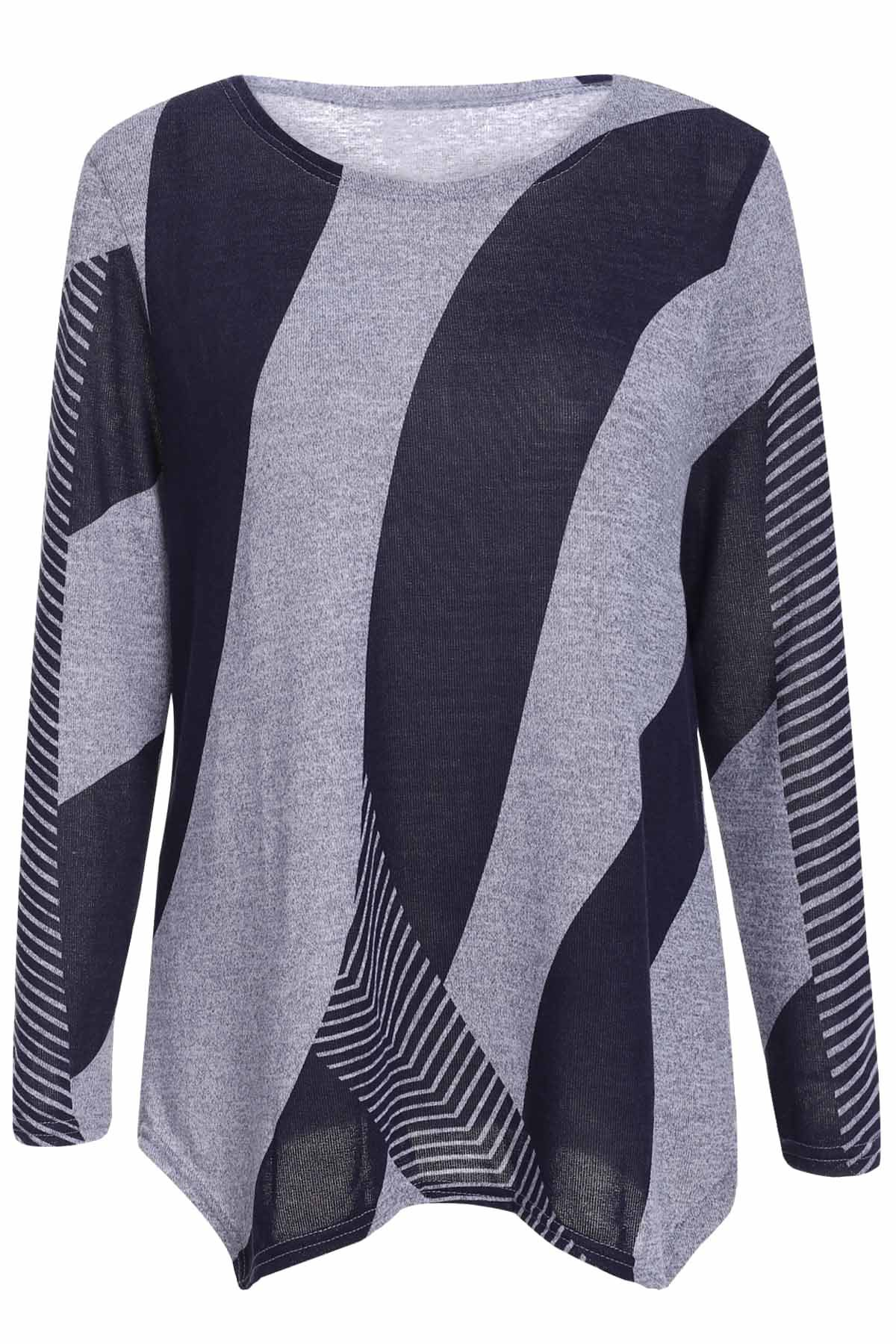 Stylish Women's Scoop Neck Long Sleeves Geometric Printed Irregular Hem T-Shirt - BLUE ONE SIZE