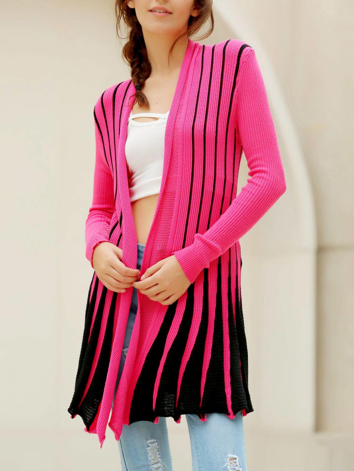 Stylish Color Block Long Sleeve Cardigan For Women - PLUM ONE SIZE