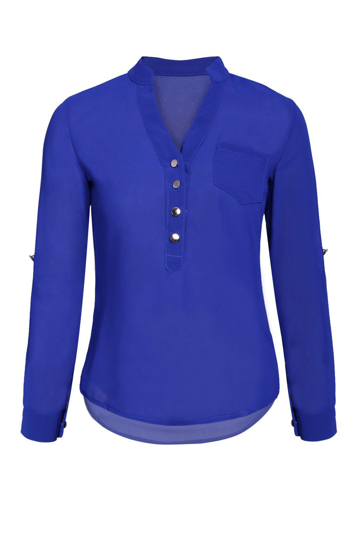 Simple Style V-Neck Chiffon Solid Color Long Sleeve Blouse For Women - BLUE M