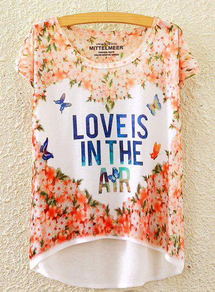 Chic Women's Scoop Neck Letter and Butterfly Print High Low Short Sleeve T-Shirt - WHITE ONE SIZE(FIT SIZE XS TO M)