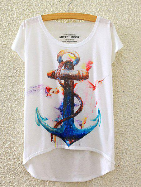 Stylish Round Neck Short Sleeve Anchor Print High-Low Hem Women's T-Shirt - WHITE ONE SIZE(FIT SIZE XS TO M)