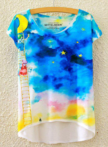 Chic Women's Scoop Neck Starry Sky Print High Low Short Sleeve T-Shirt - WHITE ONE SIZE(FIT SIZE XS TO M)