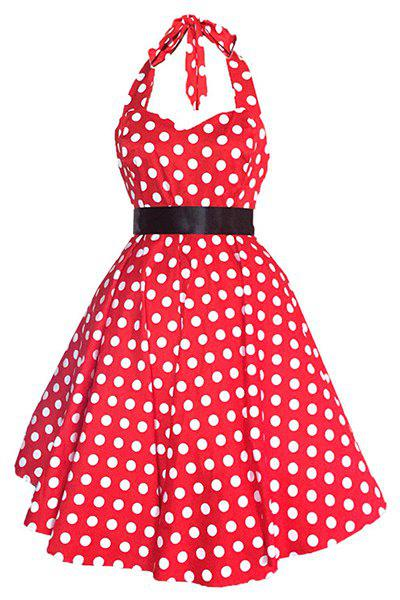 Vintage Sweetheart Neckline Halter Polka Dot Print Women's Dress - RED M