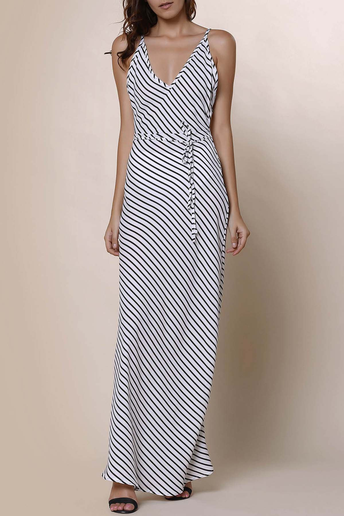Stylish Spaghetti Strap Striped Backless Women's Maxi Dress - STRIPE XL