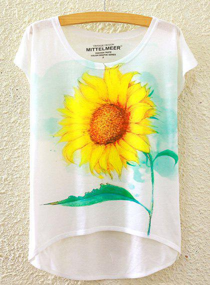 Refreshing Women's Scoop Neck Sunflower Print High Low Short Sleeve T-Shirt - WHITE ONE SIZE(FIT SIZE XS TO M)