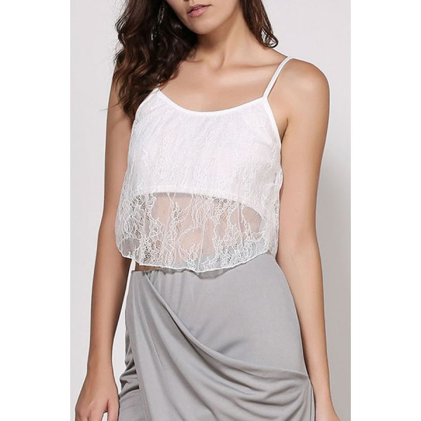 Stylish Spaghetti Strap White Lace Women's Crop Top