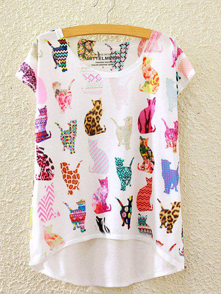 Stylish Round Neck Short Sleeve Colorful Cats Print High-Low Hem Women's T-Shirt - WHITE ONE SIZE(FIT SIZE XS TO M)