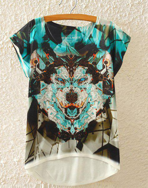 Stylish Round Neck Short Sleeve Wolf Print High-Low Hem Women's T-Shirt - WHITE ONE SIZE(FIT SIZE XS TO M)