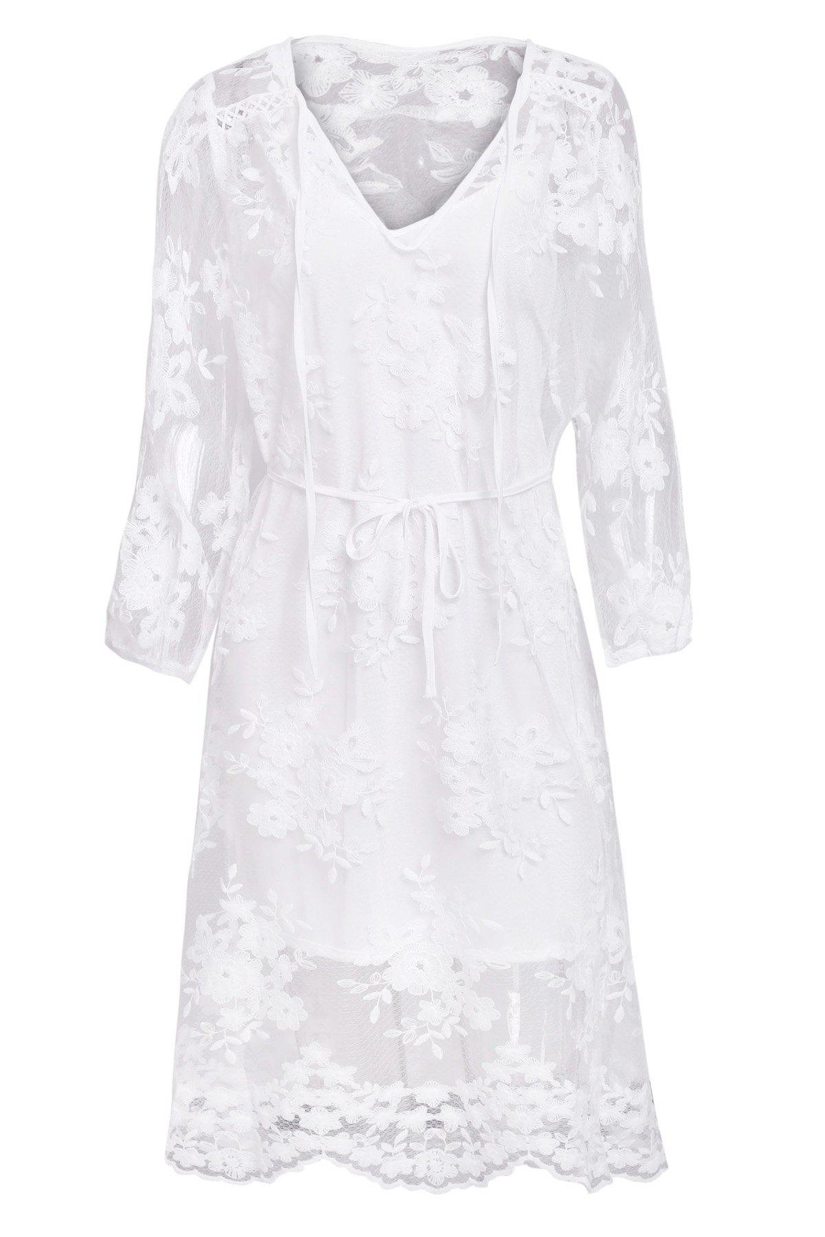 Sweet Style Solid Color Lace See-Through Long Sleeve Dress For Women - WHITE S