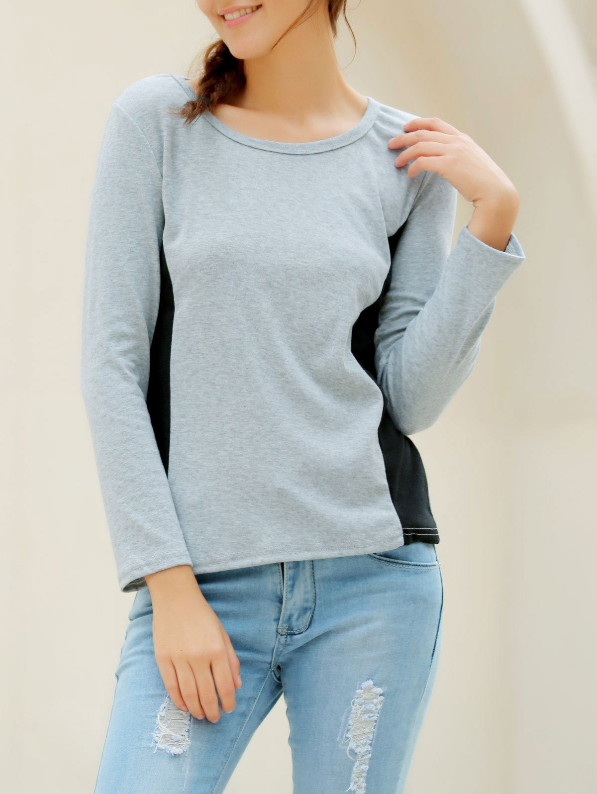 Casual Women's Scoop Neck Long Sleeves T-Shirt - GRAY L