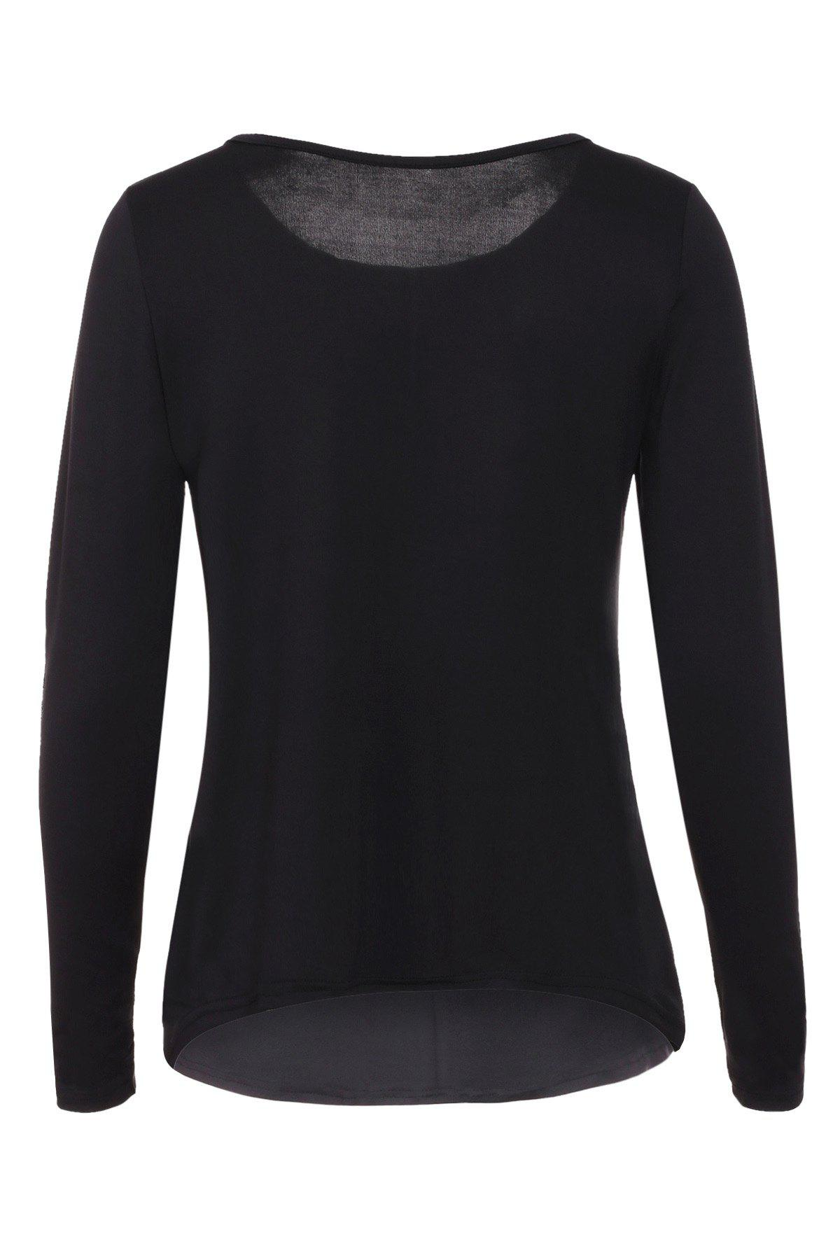 Graceful Jewel Neck Sequin Splicing Long Sleeve Blouse For Women - BLACK XL