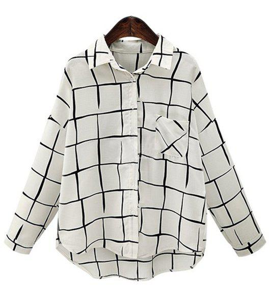 Chic Shirt Collar Long Sleeves Buttoned Plaid Women's Shirt - WHITE XL
