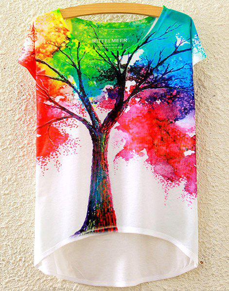 Stylish Women's Scoop Neck Colorful Tree Print High Low Short Sleeve T-Shirt - WHITE ONE SIZE(FIT SIZE XS TO M)