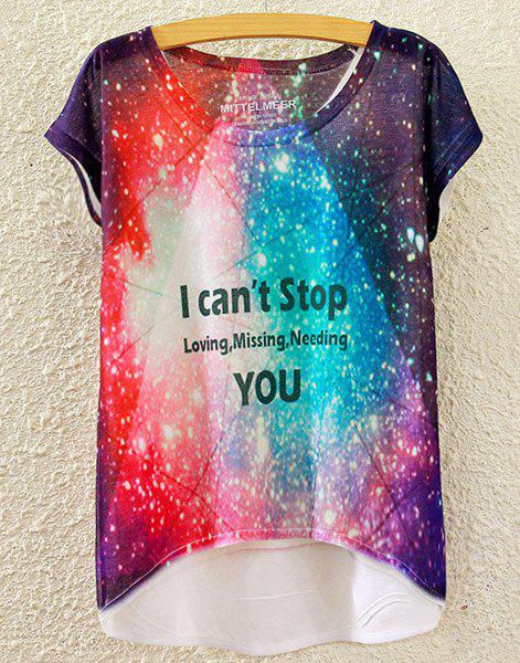 Chic Women's Scoop Neck Colorful Starry Sky Print High Low Short Sleeve T-Shirt - WHITE ONE SIZE(FIT SIZE XS TO M)