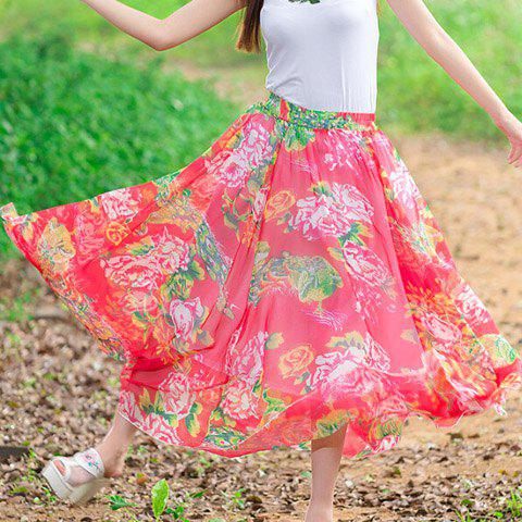 Fashionable Elastic Waist Floral Print Women's Long Skirt - RED ONE SIZE(FIT SIZE XS TO M)