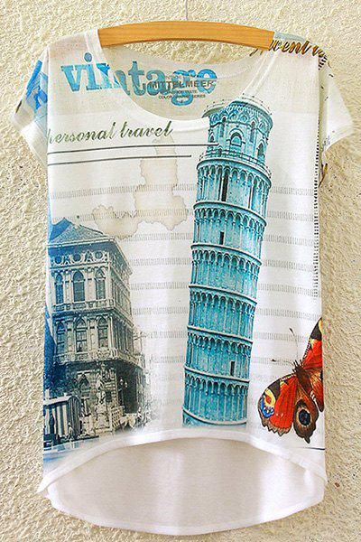 Vintage Round Neck Short Sleeve Campanile Di Pisa Print High-Low Hem Women's T-Shirt