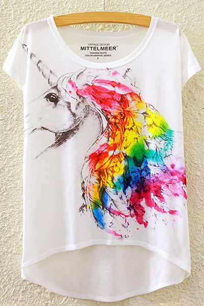 Stylish Round Neck Short Sleeve Colorful Unicorn Print High-Low Hem Women's T-Shirt - WHITE ONE SIZE(FIT SIZE XS TO M)
