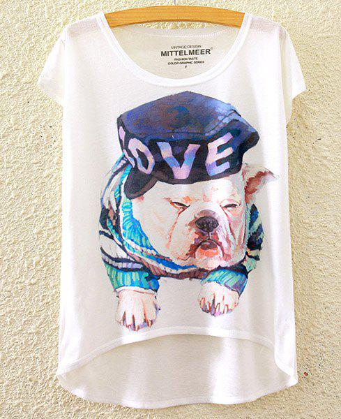 Cute Women's Scoop Neck Puppy Print High Low Short Sleeve T-Shirt - WHITE ONE SIZE(FIT SIZE XS TO M)