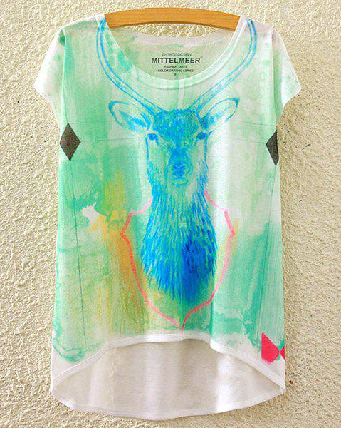 Cute Women's Scoop Neck Reindeer Print High Low Short Sleeve T-Shirt - WHITE ONE SIZE(FIT SIZE XS TO M)