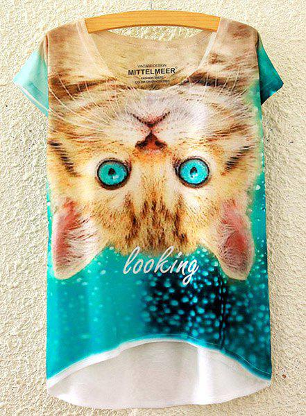 Cute Women's Scoop Neck Kitty Print High Low Short Sleeve T-Shirt - WHITE ONE SIZE(FIT SIZE XS TO M)