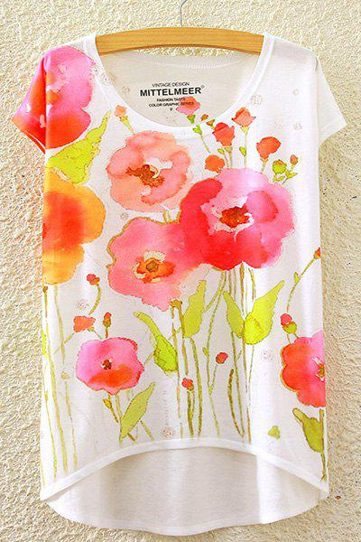 Country Style Round Neck Short Sleeve Watercolor Floral Print High-Low Hem Women's T-Shirt