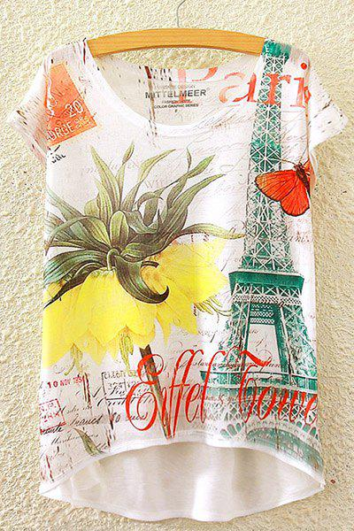 Stylish Round Neck Short Sleeve Tower and Floral Print High-Low Hem Women's T-Shirt