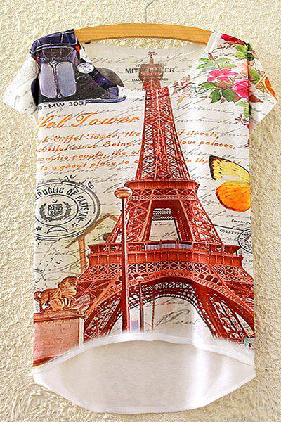 Stylish Round Neck Short Sleeve Tower and Letter Print High-Low Hem Women's T-Shirt - WHITE ONE SIZE(FIT SIZE XS TO M)