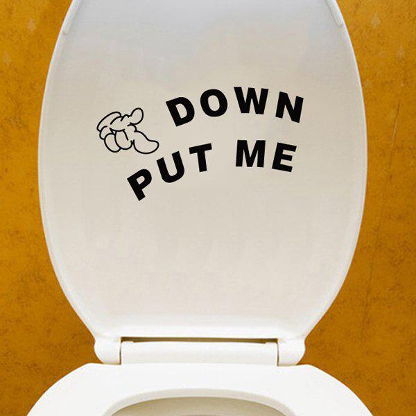 Stylish Put Me Down Pattern Toilet Sticker For Bathroom Restroom Decoration - BLACK