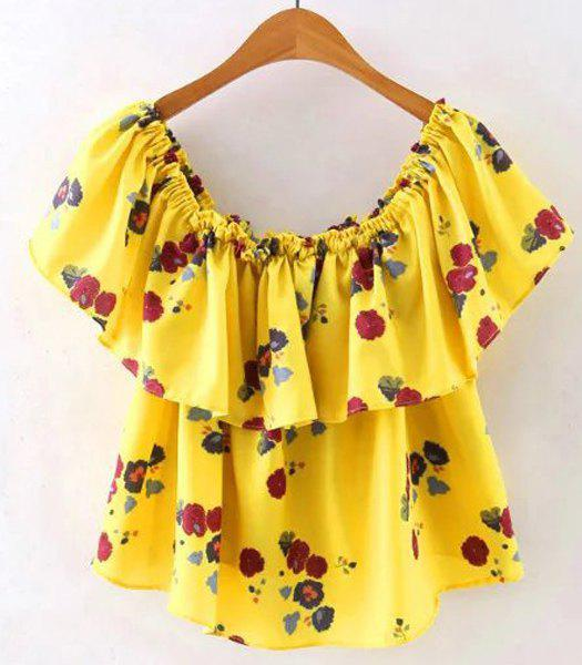 Simple Style Off the Shoulder Flower Print Flounce T-Shirt For Women - YELLOW S