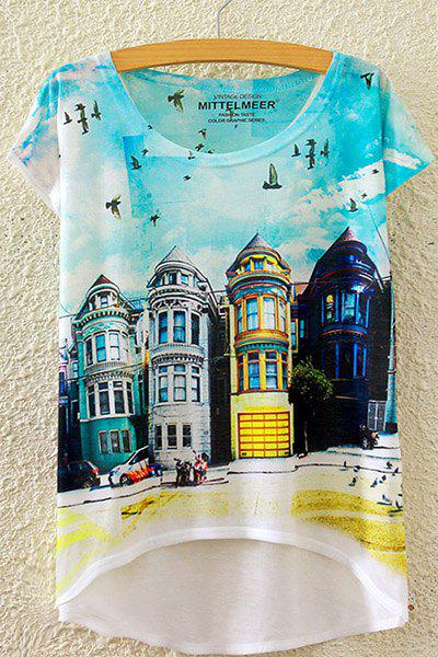 Stylish Round Neck Short Sleeve Castle William Print High-Low Hem Women's T-Shirt - WHITE ONE SIZE(FIT SIZE XS TO M)