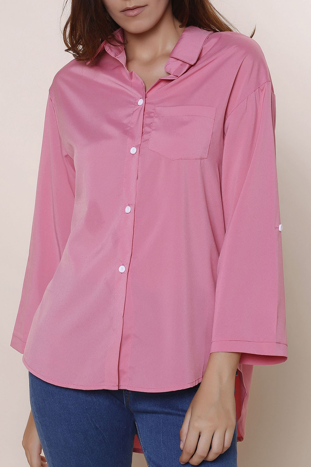 OL Style Long Sleeve  High-Low Solid Color Hem Shirt For Women - PINK 3XL