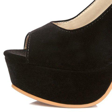 Stylish Hollow Out and Double Buckle Design Women's Peep Toe Shoes - BLACK 37