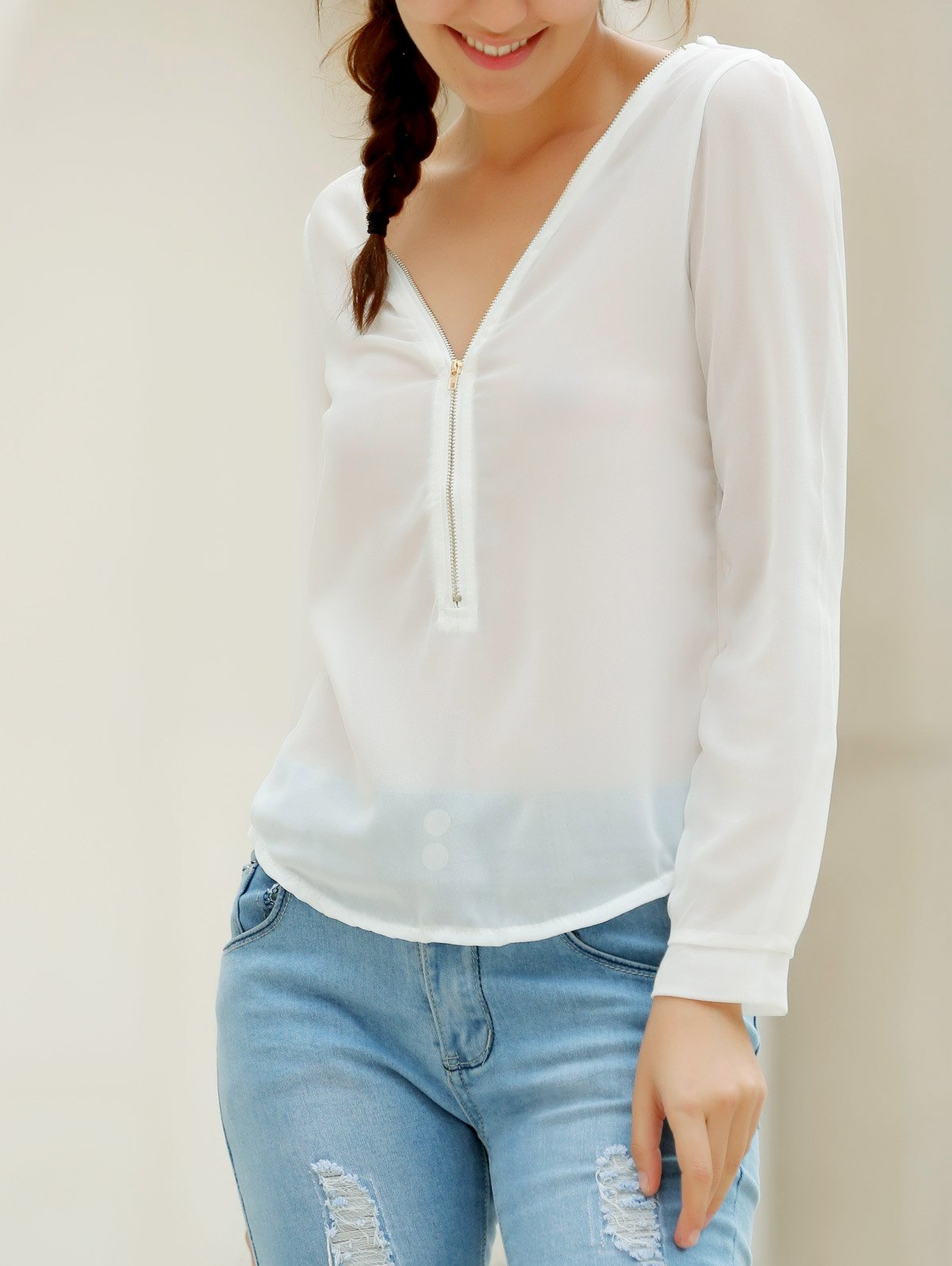 Stylish V-Neck Long Sleeve Zipper Design Solid Color Chiffon Women's Blouse