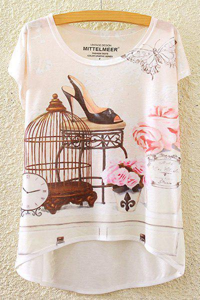 Stylish Round Neck Short Sleeve Floral and Butterfly Print High-Low Hem Women's T-Shirt - WHITE ONE SIZE(FIT SIZE XS TO M)