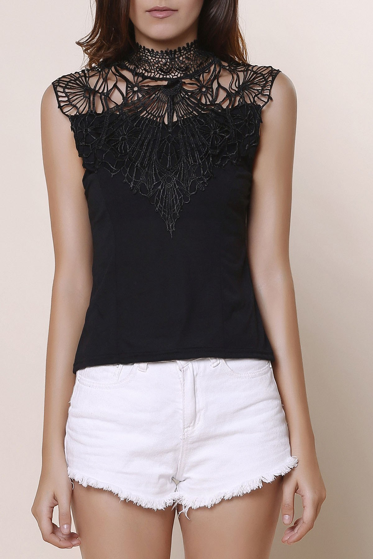 Sexy Round Collar Cut Out Black Lace Splicing Blouse For Women - BLACK XL