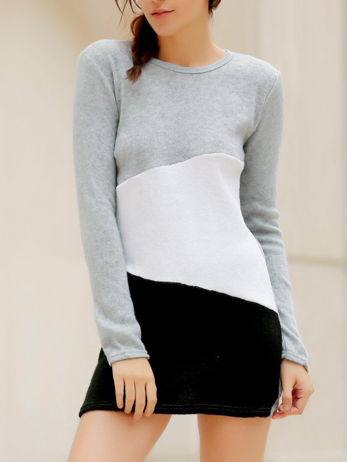 Simple Scoop Neck Long Sleeve Bodycon Color Blcok Women's Dress - LIGHT GRAY S