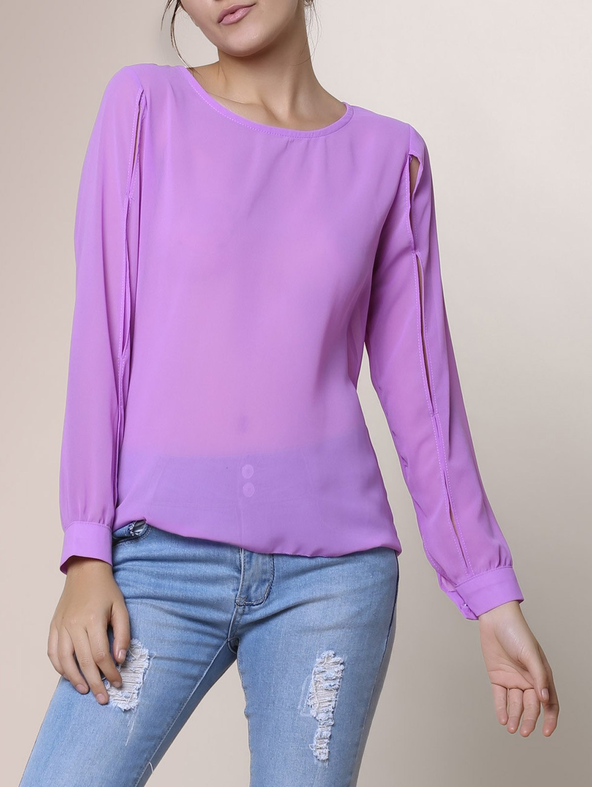 Casual Jewel Neck Hollow Out Long Sleeve Chiffon Blouse For Women - PURPLE L