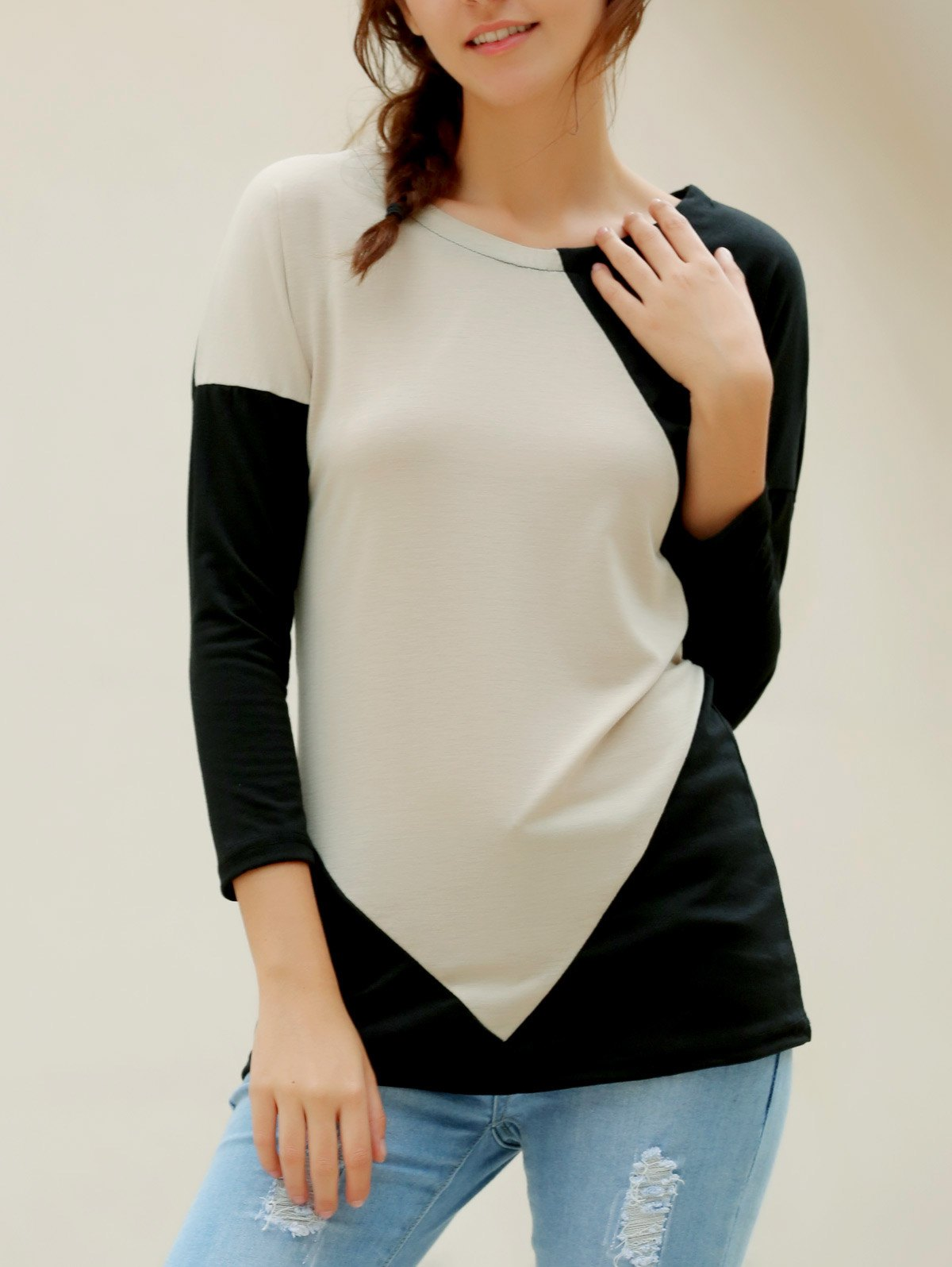 Elegant V-Neck Color Block Loose-Fitting Long Sleeve T-Shirt For Women - APRICOT L