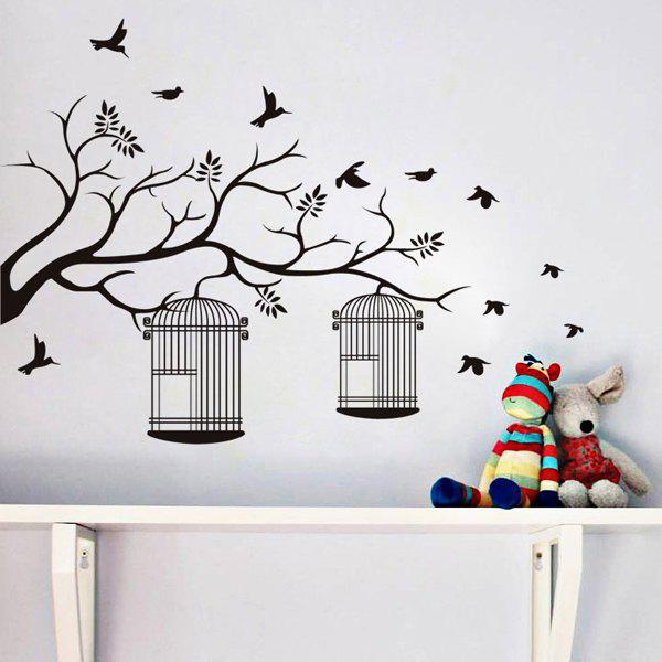Stylish Branch and Birdcage Pattern Wall Sticker For Bedroom Livingroom Decoration creative branch pattern wall sticker for bedroom livingroom decoration