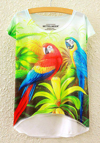 Stylish Round Neck Short Sleeve Parrot Print High-Low Hem Colorful Women's T-Shirt - ONE SIZE(FIT SIZE XS TO M) WHITE