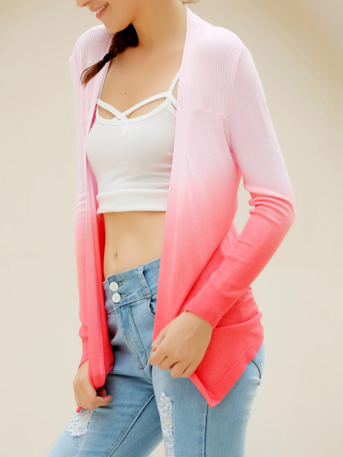 Stylish Collarless Long Sleeve Knitted Gradient Color Women's Cardigan