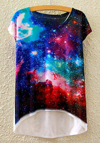 Stylish Round Neck Short Sleeve Galaxy Print High-Low Hem Women's T-Shirt - WHITE ONE SIZE(FIT SIZE XS TO M)
