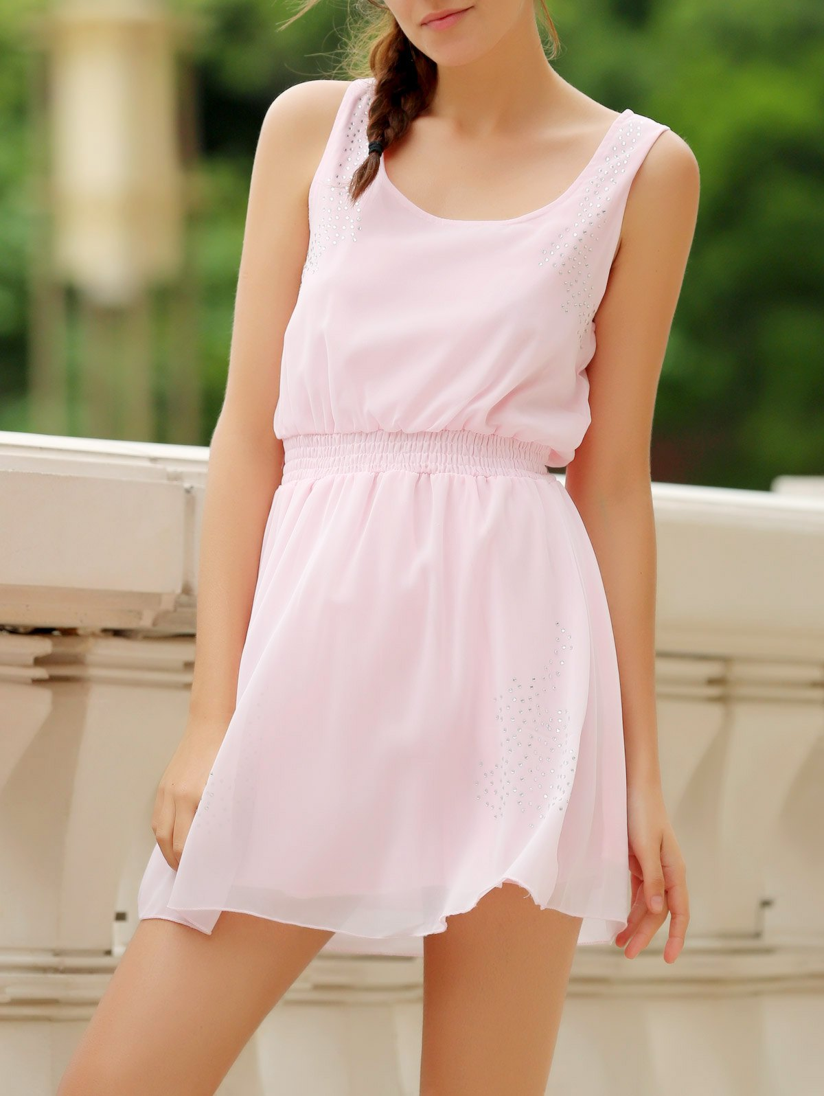 Simple Square Neck Sleeveless Solid Color Waist Drawstring Women's Dress - LIGHT PINK S